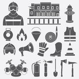 Vector set icons of firefighting equipment  illustration Royalty Free Stock Photography
