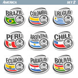Vector set icons of Flags American National Teams Royalty Free Stock Photos
