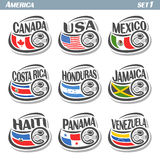 Vector set icons of Flags American National Teams Stock Image