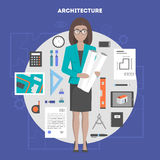 Vector set of icons flat architecture and design. Woman architect with drawings, set of objects and devices for performing architectural project, preparation for Royalty Free Stock Photography