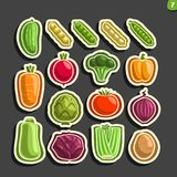 Vector Set icons of fresh Vegetables. 16 minimal labels for veg nutrition on black background, set of cartoon simple vegan stickers, tags for vegetarian Stock Image
