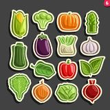 Vector Set icons of fresh Vegetables. 15 minimal labels for veg nutrition on black background, set of cartoon simple vegan stickers, tags for vegetarian Royalty Free Stock Image