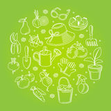 Vector set icons of hand drawn garden tools. Stock Image