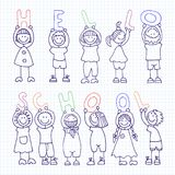 Vector set of icons hello school Stock Images