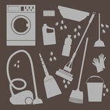 Vector set of icons . Household cleaning and laundry Royalty Free Stock Image