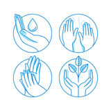 Vector set of icons and illustrations in linear style - massage vector illustration