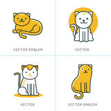 Vector set of icons and illustrations in trendy linear style Royalty Free Stock Photo