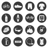 Vector set of icons isolated on cycling. Bicycles. Isolated  bike accessories set. Spare parts for bicycle  big icons set. Stock Vector Stock Photo