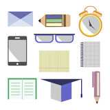 Vector set of icons. Letter, glasses, alarm clock, pen, pencil, notebook, paper, smart phone, academic cap. Isolated on the white. Background Stock Photography