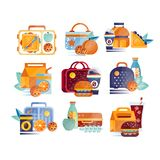 Vector set of icons with lunch boxes and bags with food and drinks. Hamburgers, sandwiches, cookies, juice, coffee Royalty Free Stock Image