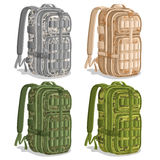 Vector set icons Military Camouflage Backpacks Royalty Free Stock Photography