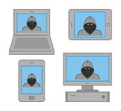 Vector set icons online theft Royalty Free Stock Image