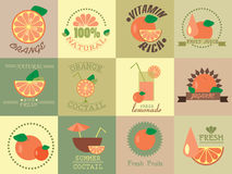 Vector set of icons with orange Royalty Free Stock Image
