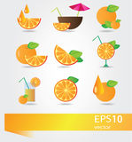 Vector set of icons with orange Stock Images
