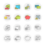 Vector set of icons payment and finance, transparent and color. Conceptual icon set flat design. Money, payment and finance modern symbols with contour for web Stock Photo