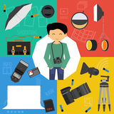 Vector set icons photographic equipment Stock Image