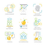 Vector set icons related to types and techniques of mentorship. Stock Image