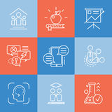 Vector set icons related to types and techniques of mentorship. Royalty Free Stock Photos