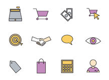 Vector set icons set for business and shopping. On white background royalty free illustration