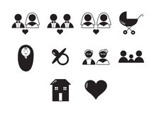 Vector set icons set for wedding cycle Stock Photo