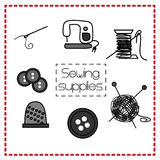 Vector set of icons with sewing tools in Doodle style Royalty Free Stock Images