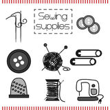 Vector set of icons with sewing tools in Doodle style Stock Photo