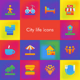 Vector set of 14 icons showing city life in brutalism material design style Royalty Free Stock Photos