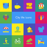 Vector set of 14 icons showing city life in flat material design style Royalty Free Stock Photography