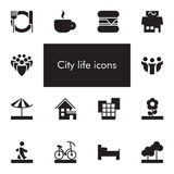 Vector set of 14 icons showing city life in one color Royalty Free Stock Photography