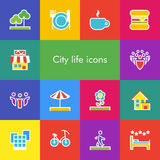 Vector set of 14 icons showing city life in outline style Stock Image