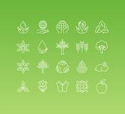 Vector set of 20 icons and sign in mono line style Stock Photography