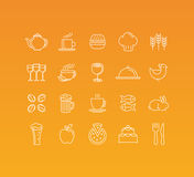 Vector set of 20 icons and sign in mono line style. Concepts related to food and drinks, cafe and restaurants pictograms Stock Image