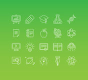 Vector set of 20 icons and sign in mono line style. Concepts related to online education and science studies, knowledge and courses Royalty Free Stock Image