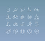 Vector set of 20 icons and sign in mono line style. Concepts related to sport and healthy lifestyle, team games and competitions Royalty Free Stock Image