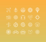 Vector set of 20 icons and sign in mono line style. Concepts related to summer vacation and traveling, sunny holidays and trips Stock Image