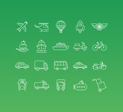 Vector set of 20 icons and sign in mono line style. Concepts related to transportation and logistics, different vehicles and public transport types Stock Photo