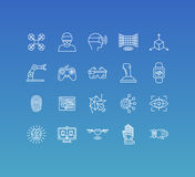 Vector set of 20 icons and sign in mono line style. Concepts related to virtual and augmented reality and new technologies, innovative apps and gadgets Royalty Free Illustration