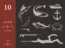 Vector Set of Icons and Signs of Equipment for Spearfishing Royalty Free Stock Photo