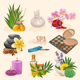 Vector set of icons spa in retro style Royalty Free Stock Image