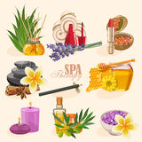 Vector set of icons spa in vintage style. Stock vector illustration with spa treatment Stock Photography