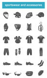 Vector set of icons sports accessories, clothes, shoes Royalty Free Stock Photos