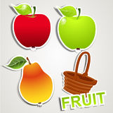 Vector set of icons/strikers: fruits Royalty Free Stock Image