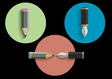 Vector set of icons stylized pencils and writing pens. Vector EPS10 Stock Image