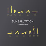 Vector set of icons for sun salutation. Yoga exercises. Line style Royalty Free Stock Photos