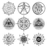 Set of icons on theme of magic, esoteric, masons stock illustration