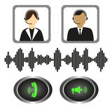 Vector set of icons telephone operators, call buttons and sound indicator. Royalty Free Stock Images