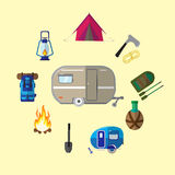 Vector set of icons on the theme of tourism , leisure . Stock Photo