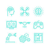 Vector set of icons in trendy linear style royalty free illustration