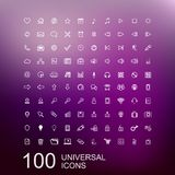 Vector Set of 100 Icons for Web Design. Vector Set of 100 Universal Outline Icons for Web and User Interface Design Stock Illustration