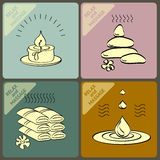 Vector set icons and words spa, massage. Royalty Free Stock Photos